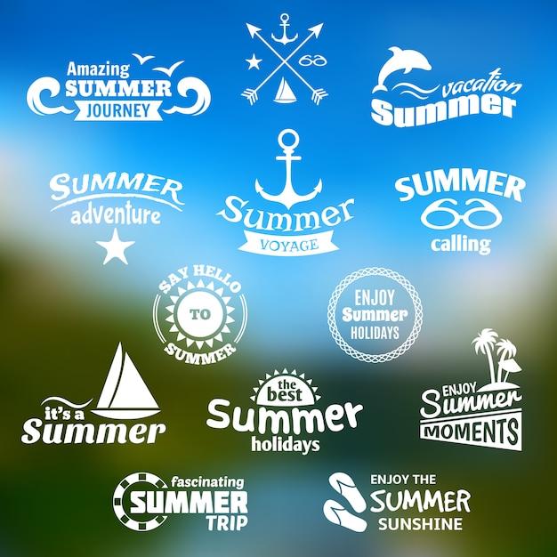 Conjunto de etiquetas de elemento de verão Vetor grátis