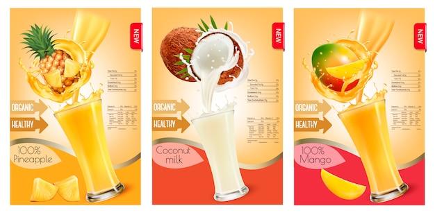 Conjunto de etiquetas de fruta em suco espirra. abacaxi, coco, manga. . Vetor Premium