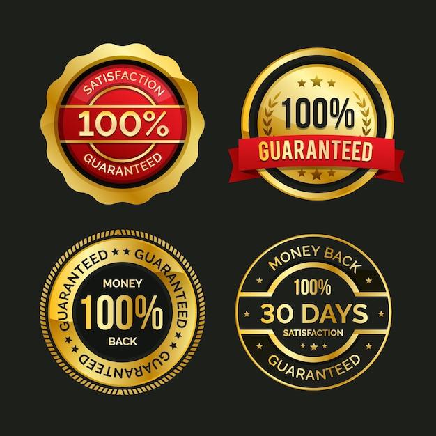 Conjunto de etiquetas de garantia 100% Vetor grátis