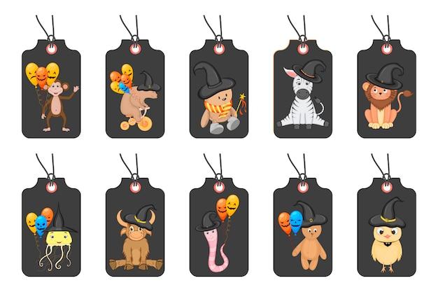 Conjunto de etiquetas de halloween para bens de férias em um fundo branco. estilo dos desenhos animados. . Vetor Premium