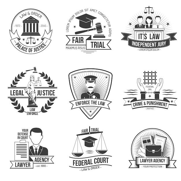 Conjunto de etiquetas de justiça Vetor grátis