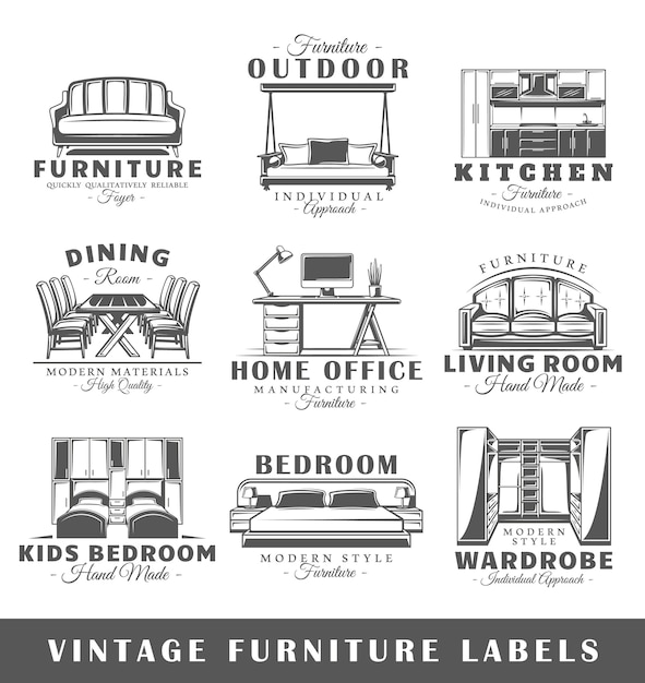 Conjunto de etiquetas de móveis vintage Vetor Premium