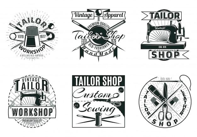Conjunto de etiquetas de oficina de alfaiataria vintage Vetor grátis