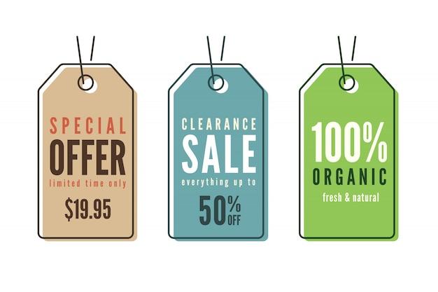 Conjunto de etiquetas de preço de venda de arte de linha Vetor Premium