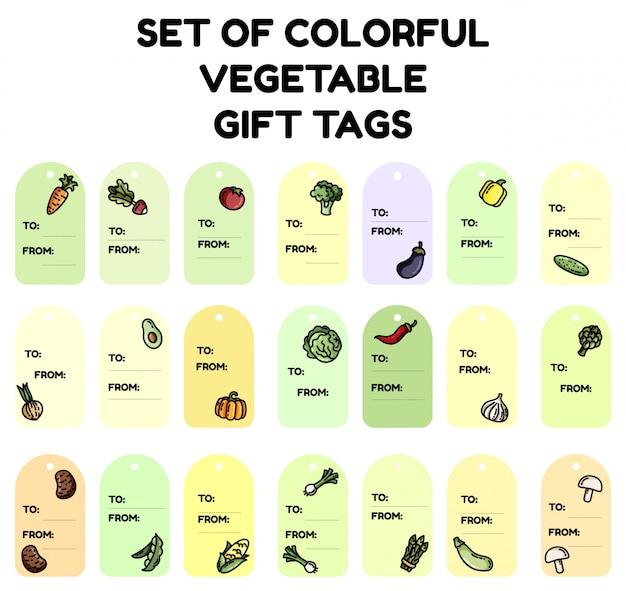 Conjunto de etiquetas de presente vegetal colorido Vetor Premium