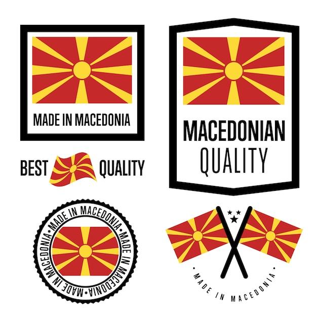 Conjunto de etiquetas de qualidade da macedônia Vetor Premium
