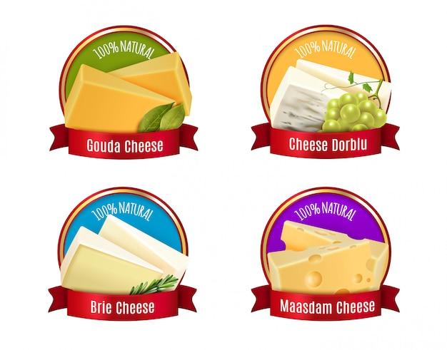 Conjunto de etiquetas de queijo realista Vetor grátis