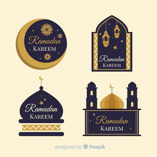 Conjunto de etiquetas de ramadan design plano Vetor grátis