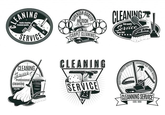 Conjunto de etiquetas de serviço de limpeza profissional vintage Vetor grátis