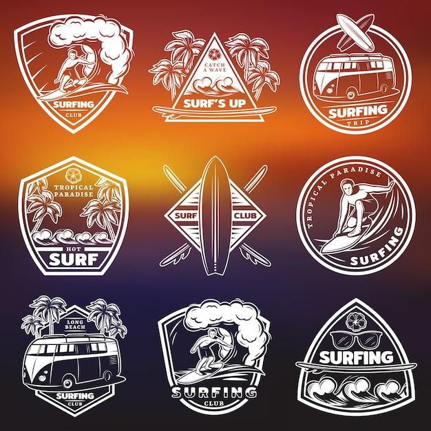 Conjunto de etiquetas de surf brancas vintage Vetor grátis