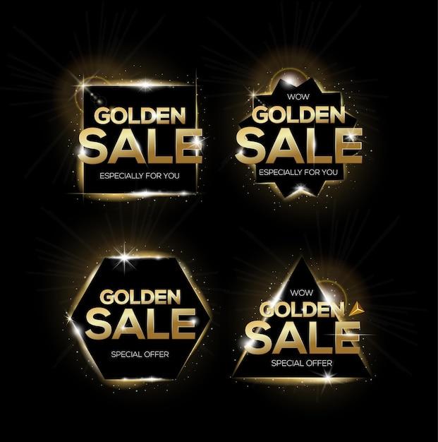 Conjunto de etiquetas de venda de ouro. crachás de compras, para venda, desconto ou marketing. Vetor Premium