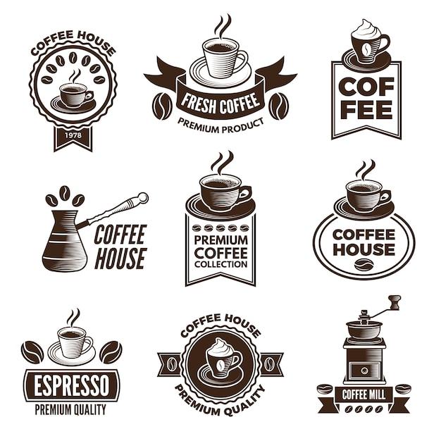 Conjunto de etiquetas diferentes para a casa de café. fotos de xícaras de café e grãos de cafeína Vetor Premium