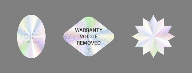 Conjunto de etiquetas do holograma isolar a etiqueta do holograma Vetor Premium