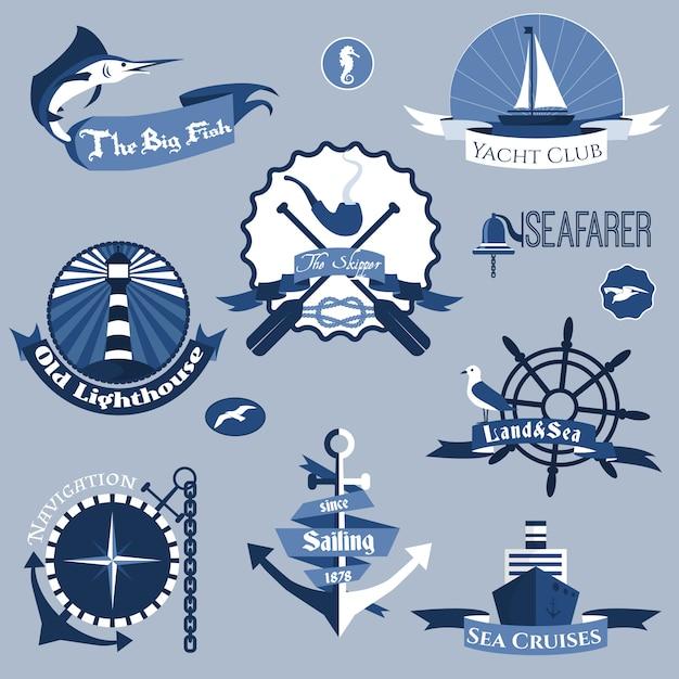 Conjunto de etiquetas do mar Vetor grátis