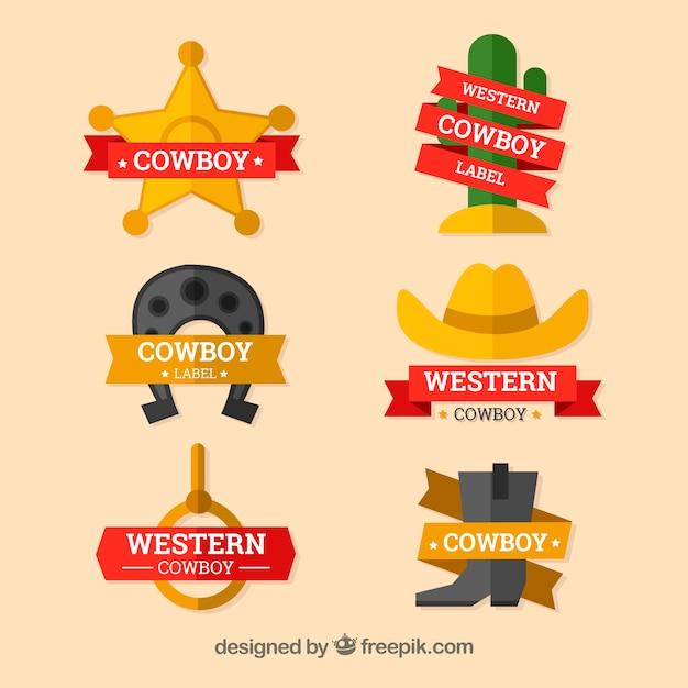 Conjunto de etiquetas e crachás de vaqueiro Vetor grátis