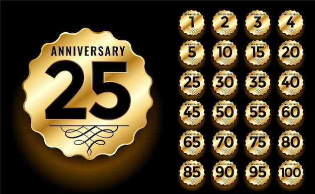 Conjunto de etiquetas e emblemas de aniversário dourado Vetor grátis