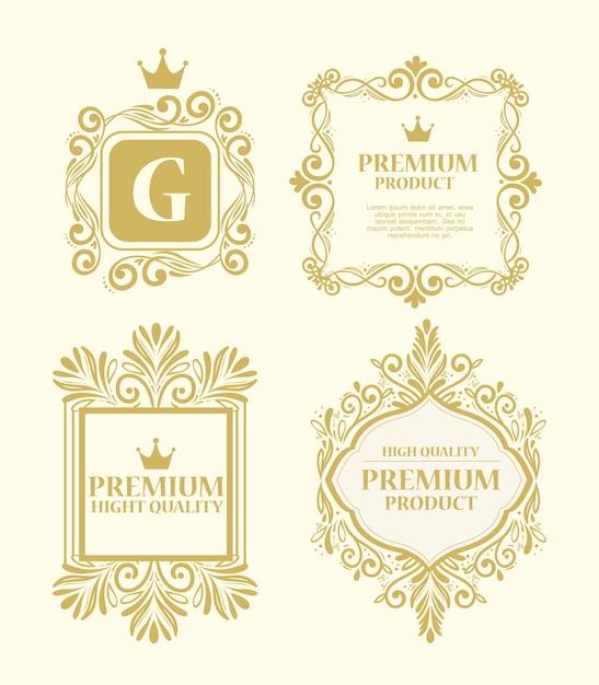 Conjunto de etiquetas em decoração luxuosa de ouro Vetor Premium