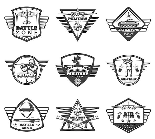 Conjunto de etiquetas militares monocromáticas vintage Vetor grátis