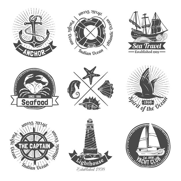Conjunto de etiquetas náuticas Vetor grátis