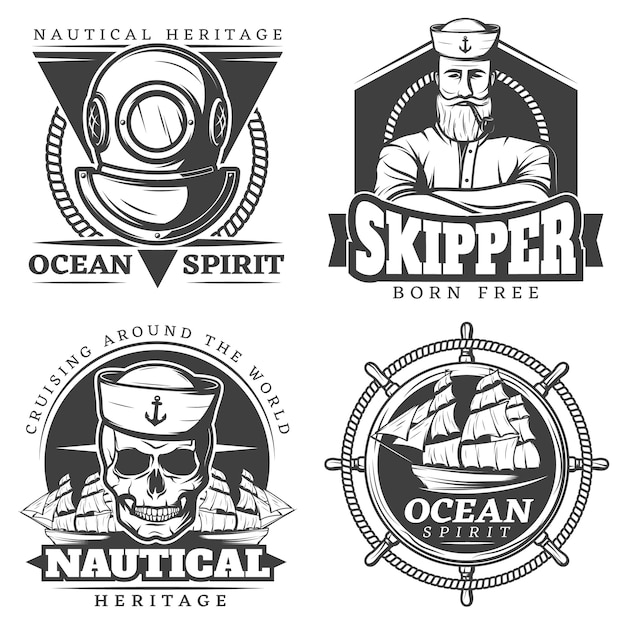 Conjunto de etiquetas navais de marinheiro com tatuagem Vetor grátis