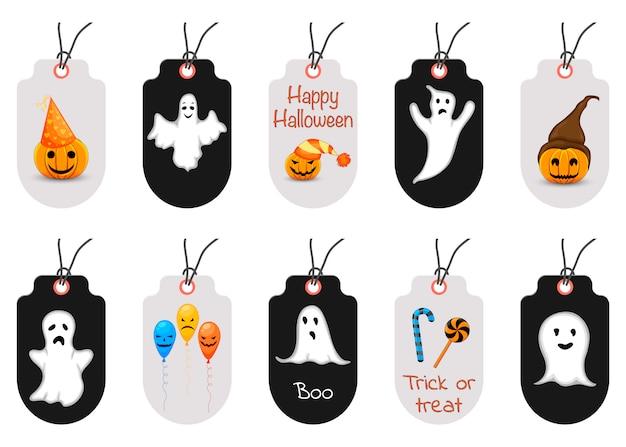 Conjunto de etiquetas ou rótulos de halloween. estilo dos desenhos animados Vetor Premium