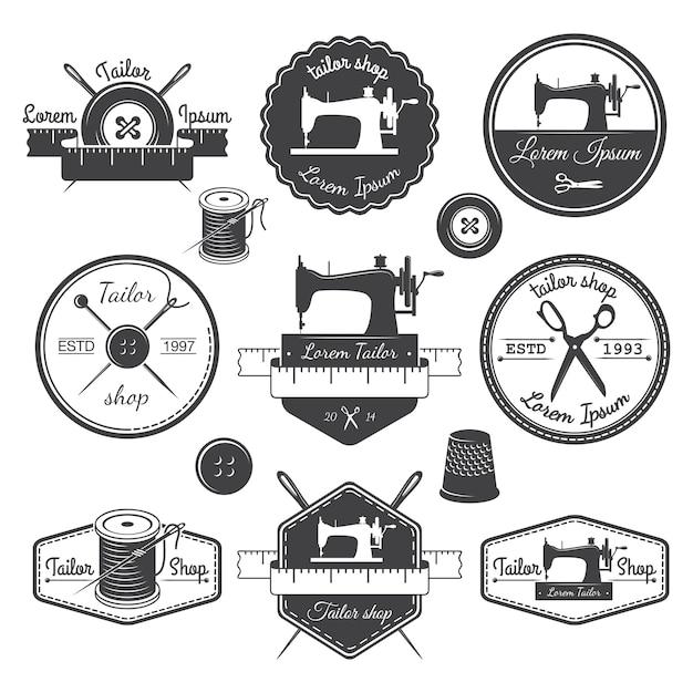 Conjunto de etiquetas personalizadas vintage, emblemas e elementos desenhados. tema de alfaiataria Vetor grátis