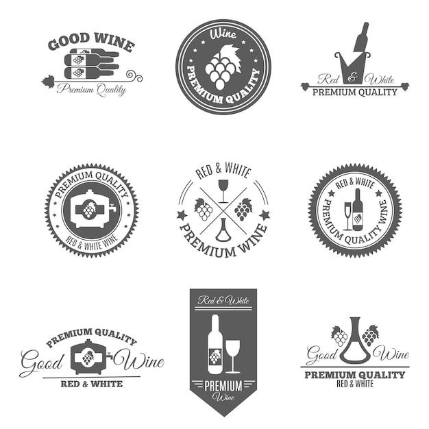 Conjunto de etiquetas plana de vinho Vetor grátis