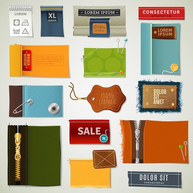 Conjunto de etiquetas têxteis Vetor grátis