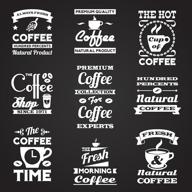 Conjunto de etiquetas vintage do café Vetor grátis