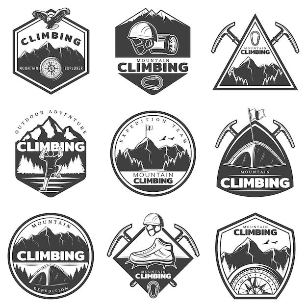 Conjunto de etiquetas vintage monocromáticas de alpinismo Vetor grátis