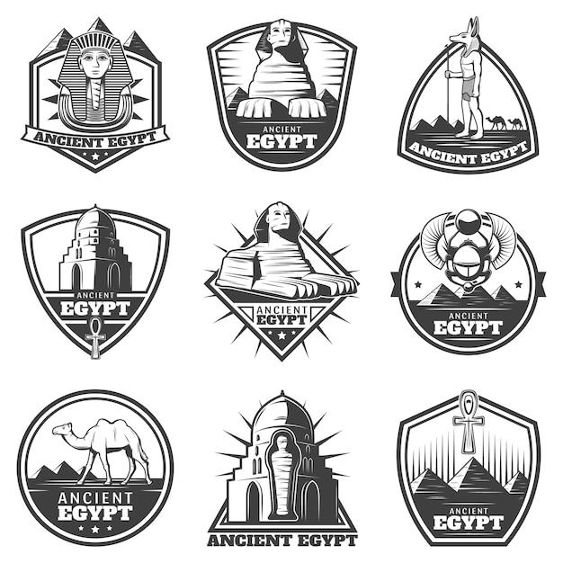 Conjunto de etiquetas vintage monocromáticas do egito antigo Vetor grátis