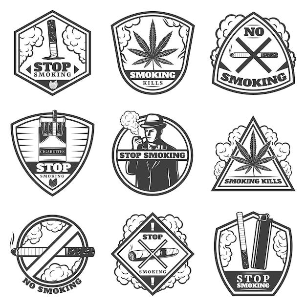 Conjunto de etiquetas vintage para parar de fumar Vetor grátis