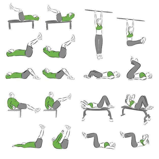 Conjunto de exercícios sistemáticos de musculação para equipamentos básicos Vetor Premium