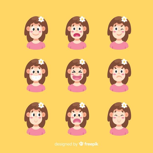 Conjunto de expressão facial de emoções diferentes Vetor grátis