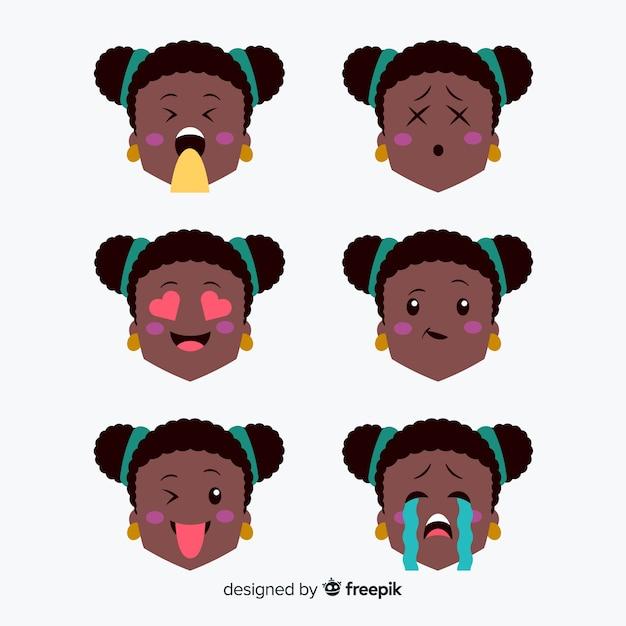 Conjunto de expressão facial de mão desenhada kawaii Vetor grátis