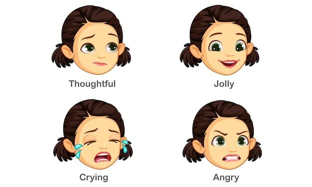 Conjunto de expressões faciais de menina Vetor Premium