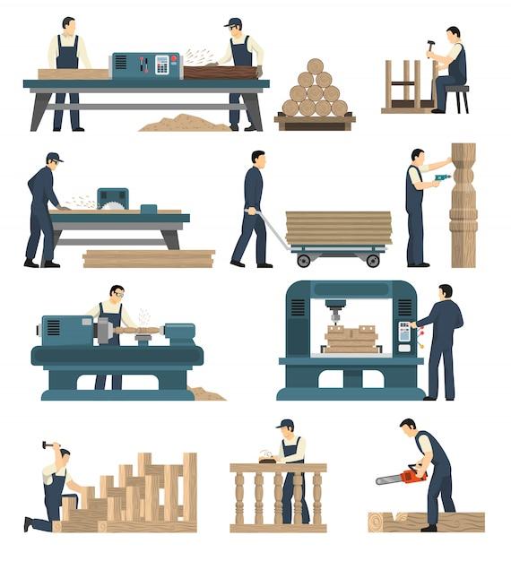 Conjunto de fábrica de carpintaria para madeira Vetor grátis