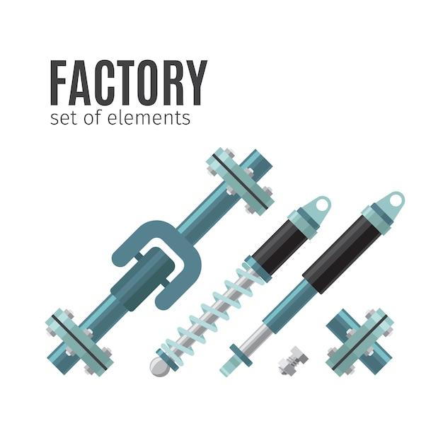 Conjunto de fábrica de elementos Vetor Premium
