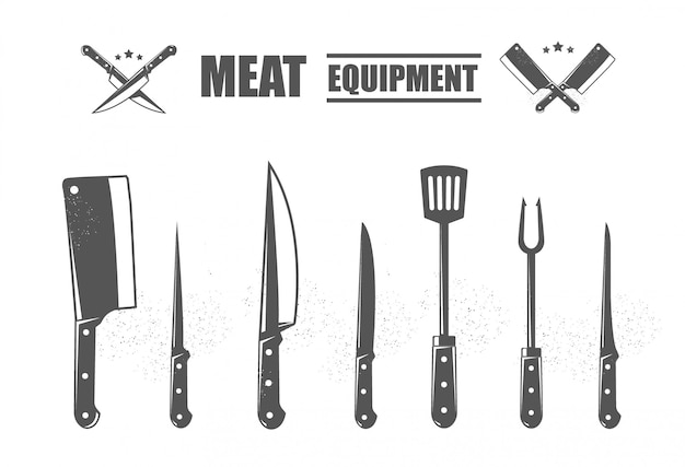 Conjunto de facas de corte de carne. m Vetor Premium