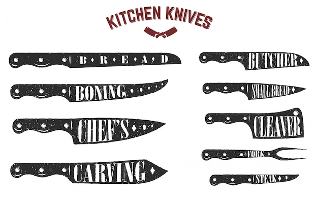 Conjunto de facas de cozinha. facas de açougueiro em fundo branco. ilustração Vetor Premium
