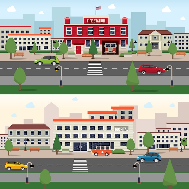 Conjunto de faixa de edifícios municipais Vetor grátis