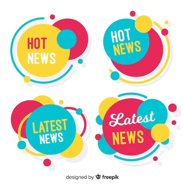 Conjunto de faixa de notícias de formas circulares coloridas Vetor grátis