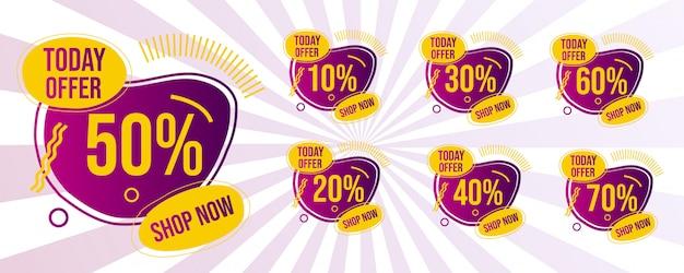 Conjunto de faixa de oferta de venda mega Vetor Premium