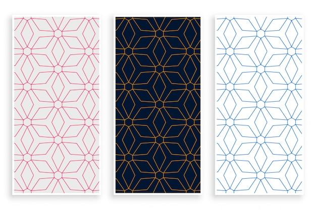 Conjunto de faixa de padrão de linhas de estilo islâmico Vetor grátis
