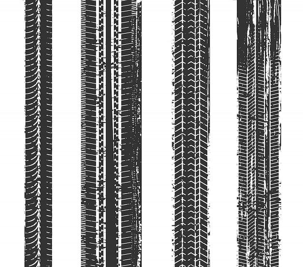 Conjunto de faixas de pneu de grunge Vetor Premium