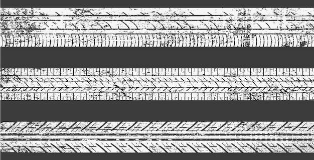 Conjunto de faixas de pneus sujos Vetor Premium