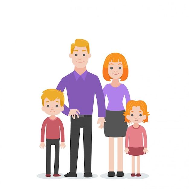 Conjunto de família de caracteres de pessoas Vetor Premium