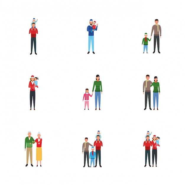 Conjunto de família e pessoas com crianças Vetor Premium
