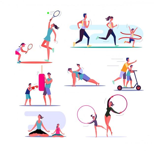 Conjunto de famílias exercitando Vetor grátis