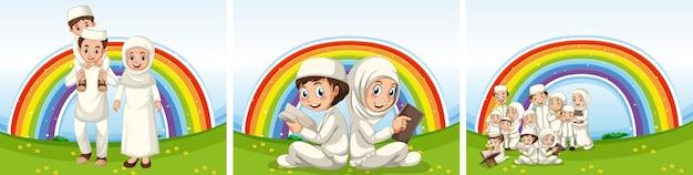 Conjunto de famílias muçulmanas árabes com roupas tradicionais e fundo arco-íris Vetor grátis